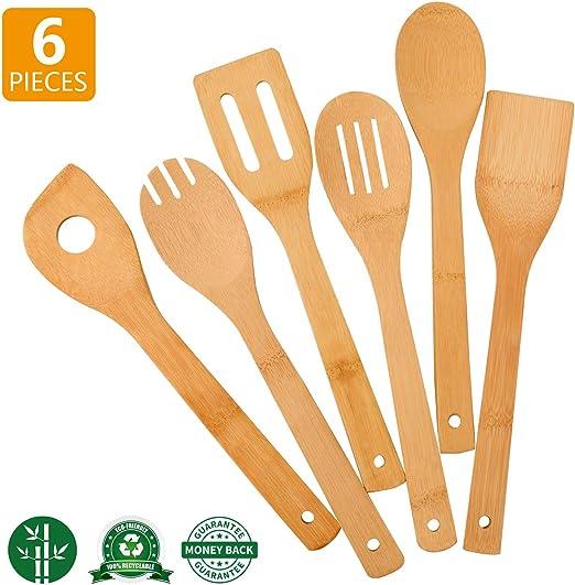 6 piezas Juego de utensilios de bambú Cucharas de Madera Cocina Cocinar espátulas Kit Nuevo