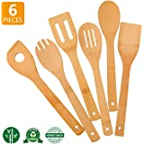 Zhuoyue Kitchen Cooking Utensils Set, 6 Pcs Bamboo Wooden Spoons & Spatula Kitchen Cooking Tools for Nonstick Cookware…