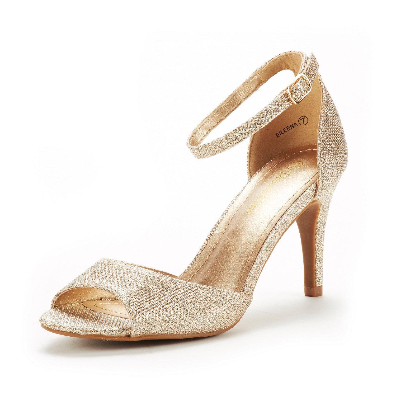 DREAM PAIRS Women's EILEENA Gold Glitter Fashion Stilettos Peep Toe Pump Heeled Sandals Size 7.5 B(M) US