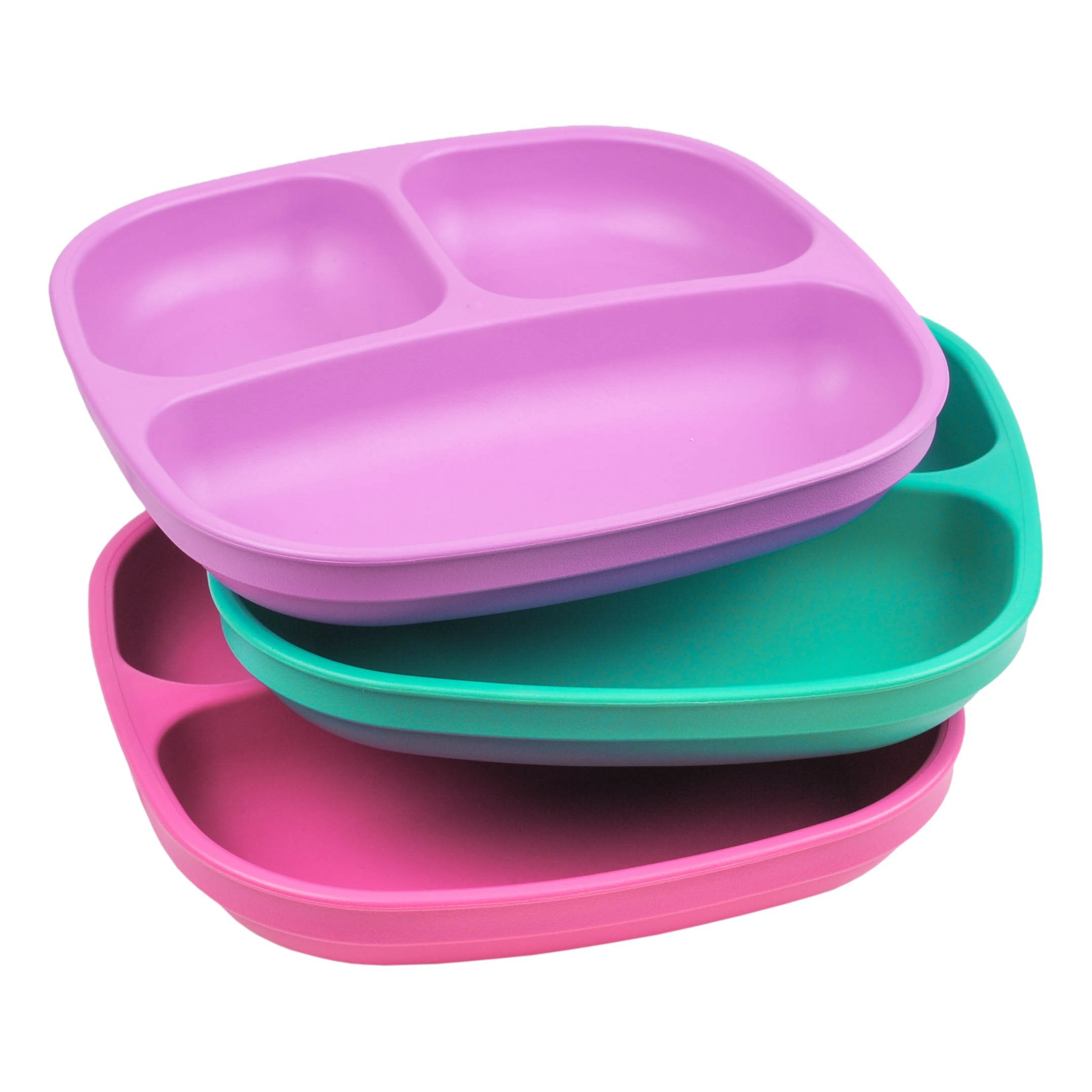 Re-Play Made in USA 3pk Divided Plates with Deep Sides for Easy Baby, Toddler, Child Feeding - Purple, Aqua & Pink (Sparkle) by Re Play