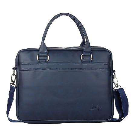 Liftible Vegan Leather Laptop Bag | Office Bag | Messenger Bag | Briefcase for 15.6 Inch Laptops   Blue