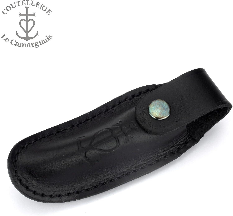 Estuche para cinturón negro Le Camarguais cuchillo de cuero para una navaja - SN 10.12 Noir: Amazon.es: Deportes y aire libre