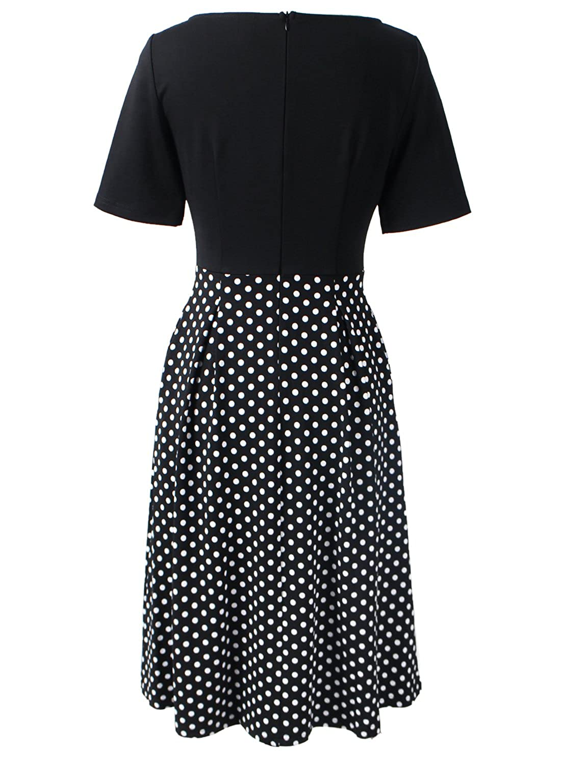 e9ae7025a997e VfEmage Womens Vintage Summer Polka Dot Wear To Work Casual A-line Dress:  Amazon.ca: Clothing & Accessories