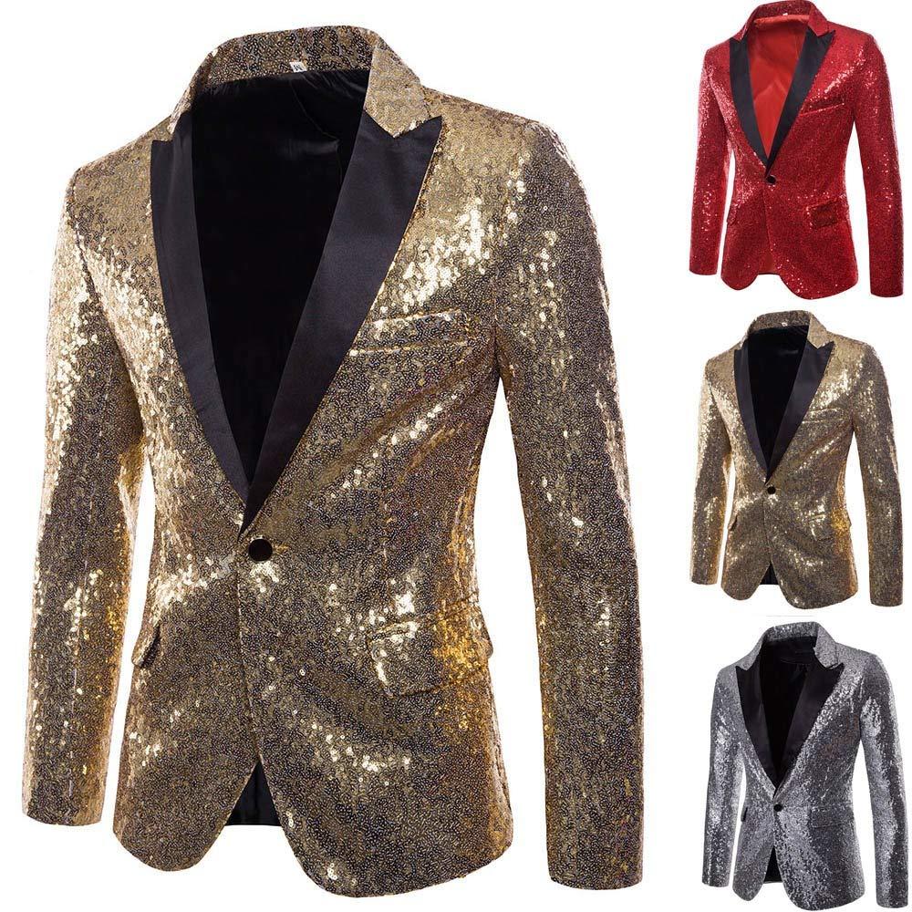 Fitfulvan Mens Suit Casual One Button Fit Suit Blazer Coat Jacket Sequin Party Top