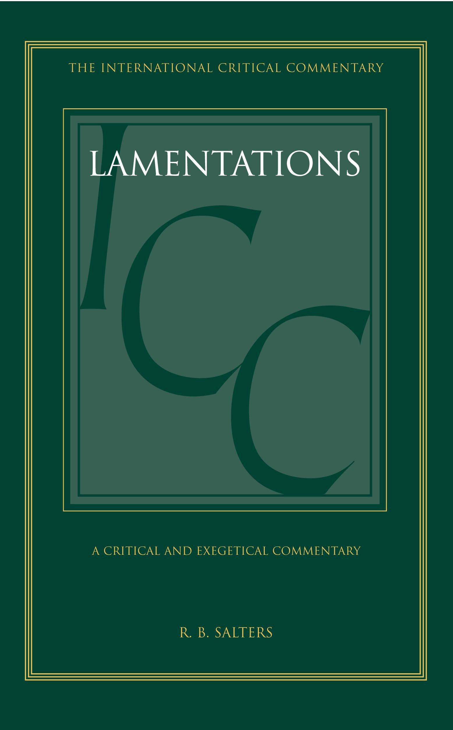 Lamentations icc a critical and exegetical commentary international critical commentary amazon co uk r b salters graham davies john a emerton