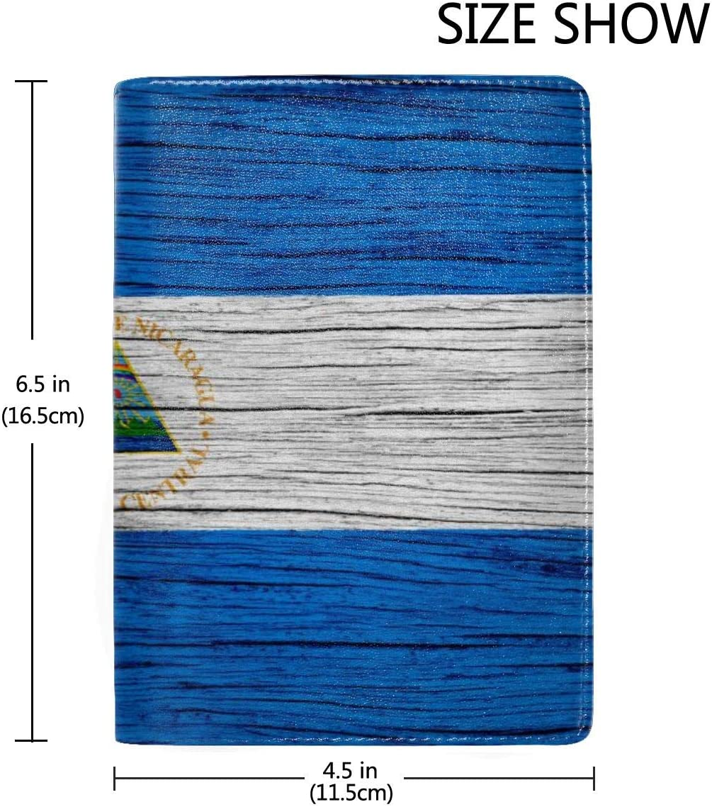 Nicaragua Wooden Texture Nicaraguan Flag Fashion Leather Passport Holder Cover Case Travel Wallet 6.5 In