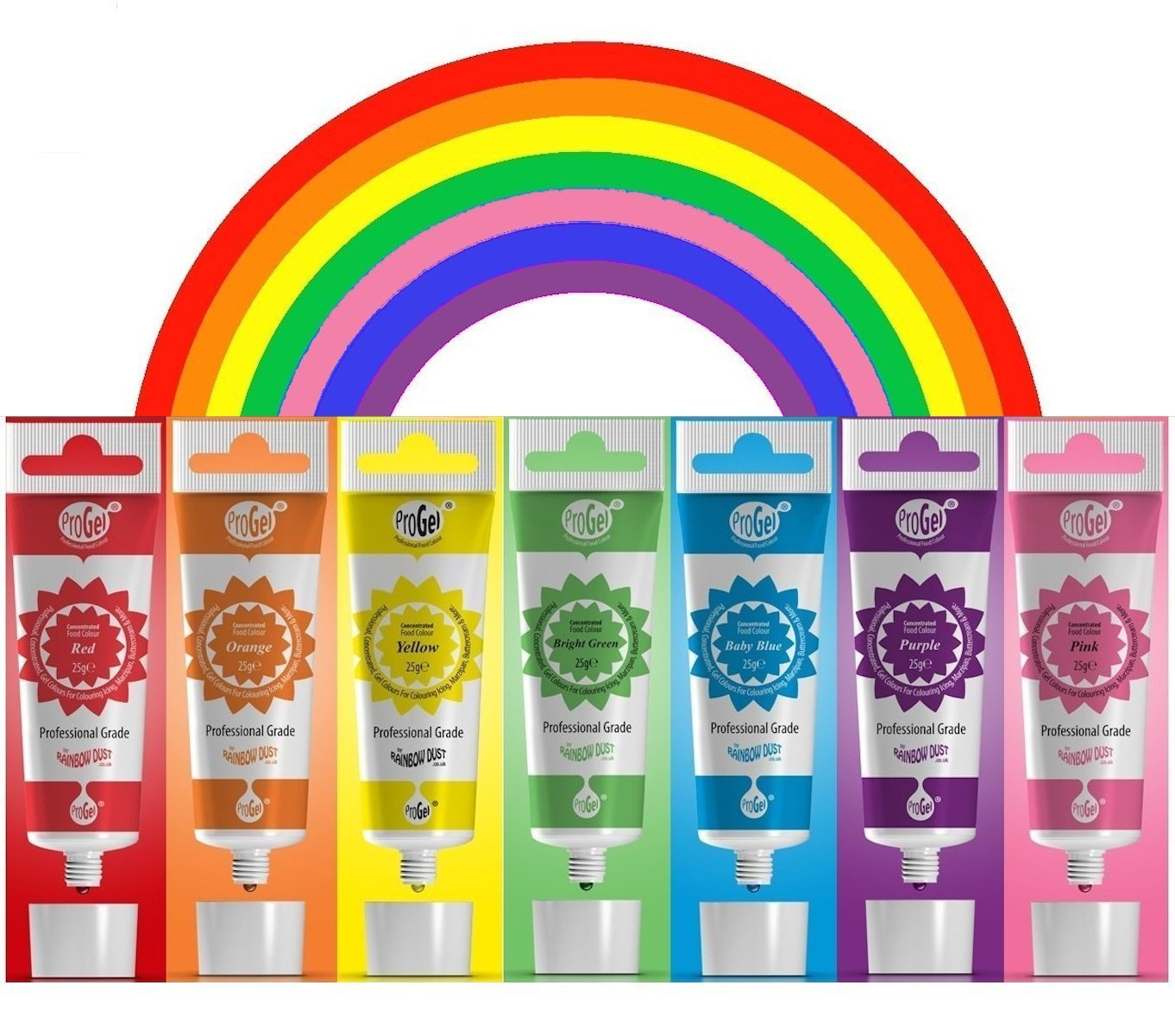 RAINBOW Dust ProGel Icing Colour Paste Gel Food Colouring Sugarcraft Set - 7 PK by Rainbow Dust (Image #1)