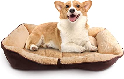 Amazon Com All For Paws Dog Lambswool Bolster Bed Ultra Soft Pet Dog Bed Comfortable Cuddler Dog Puppy Bed Washable Dog And Cat Cushion Bed Brown M Pet Supplies