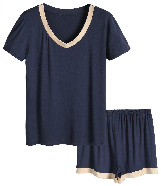 Latuza Women's V-Neck Sleepwear Short Sleeve Pajama Set XL Navy