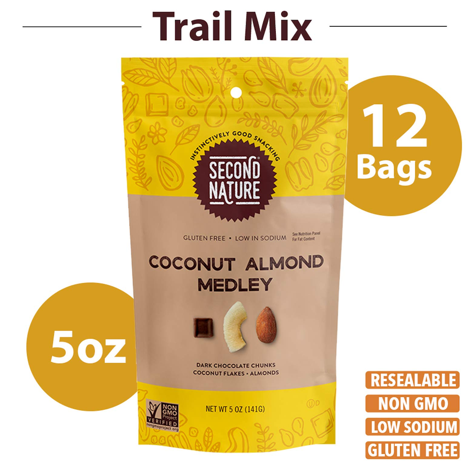 Second Nature Coconut Almond Medley Trail Mix - Healthy Nuts Snack - Bulk Pack of 5 oz Individual Single Serve Bags (Pack of 12) by Second Nature