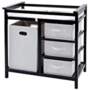 Costzon Baby Changing Table, Diaper Storage Nursery Station with Hamper and 3 Baskets (Black+White)