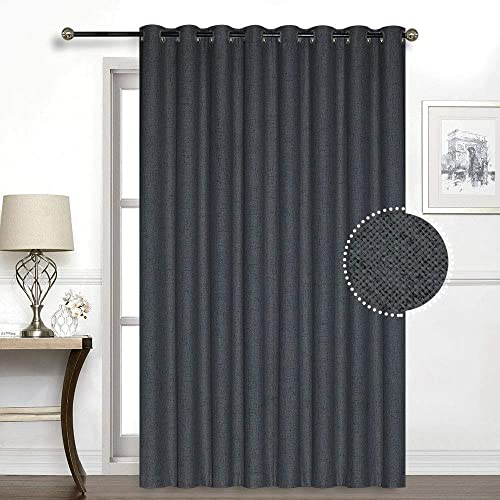 Everyday Celebration 100 Blackout Sliding Glass Door Curtains, Grommet Thermal Lining Inside Extra Wide Patio Curtain Drapes with Linen Look Charcoal, 106 W x 84 L, 1 Panel