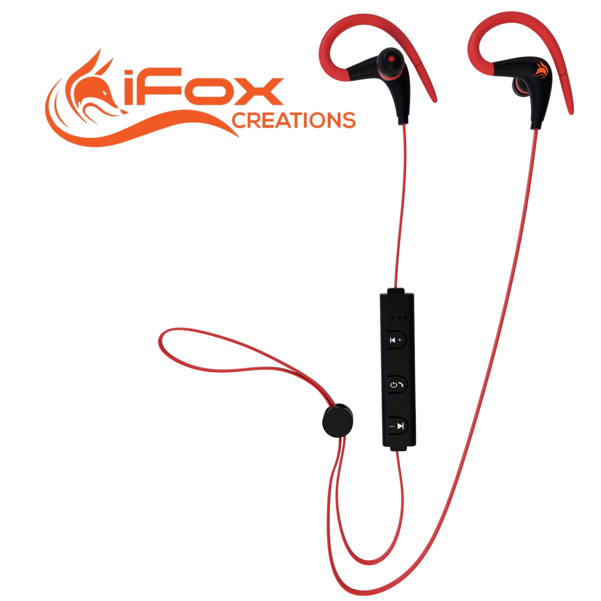 iFox iFE3 Bluetooth Sports Earphones with Built-in Mic for iPhone, iPad, iPod, Android Smartphones, Tablets, Computers, MP3 Players - Sweatproof Wireless Comfort Fit Design with Volume Control
