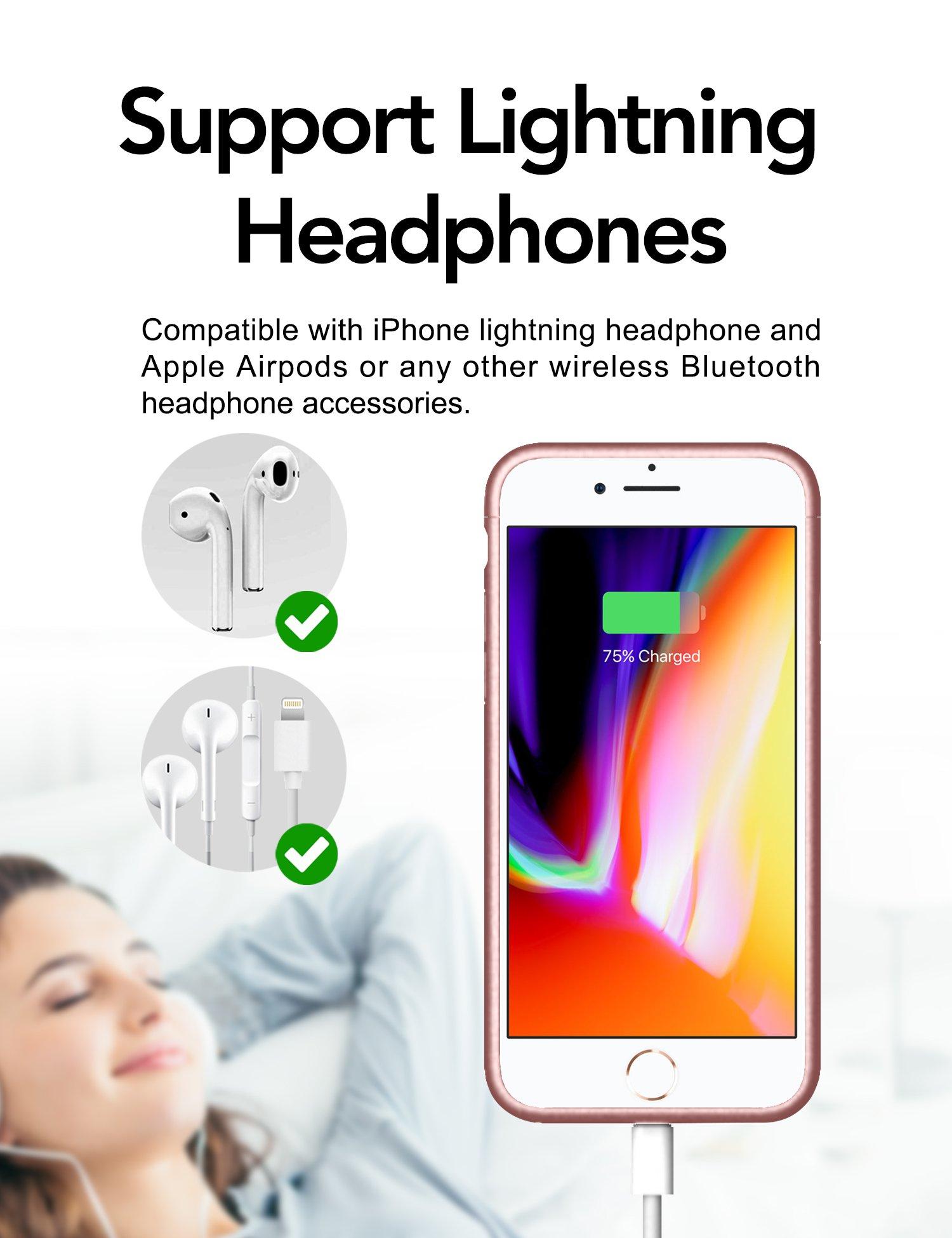 Aose Battery Case Iphone 8 Plus 7 Plus Support Lightning Headphones