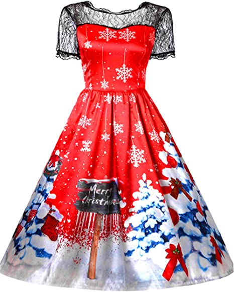 MSBASIC Christmas Dresses Women Short Sleeve Xmas Party Dress A Line Gift Ugly Party Dress