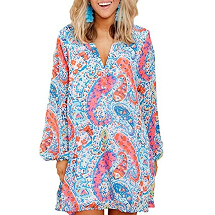 030014e5053 Image Unavailable. Image not available for. Color  Usstore Women Dresses  Floral Printing Long Sleeve Party Beach ...
