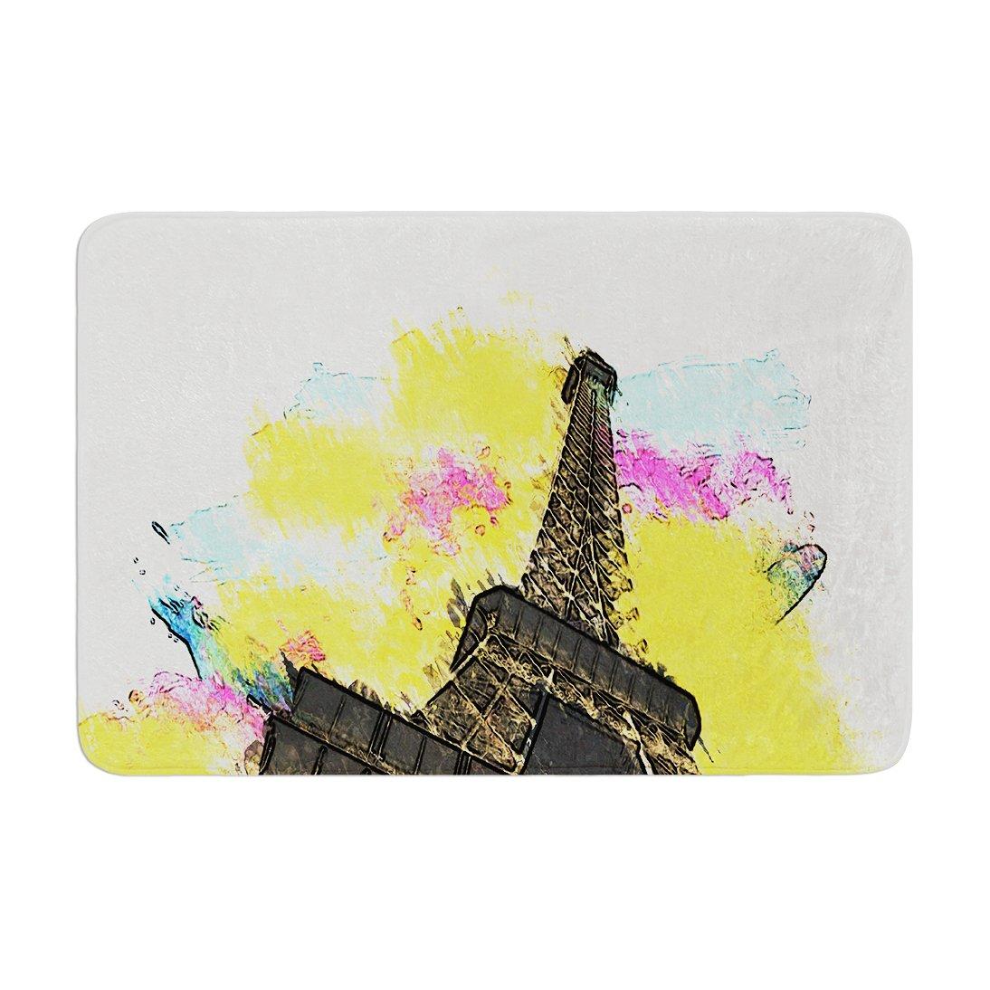 Kess InHouse Oriana Cordero Eifel Bon Jour Yellow Paris Memory Foam Bath Mat 17 by 24