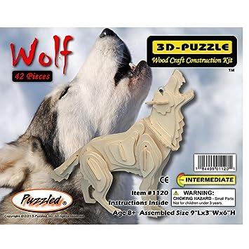 Amazon Puzzled Grey Wolf 3d Woodcraft Construction Kit Toys