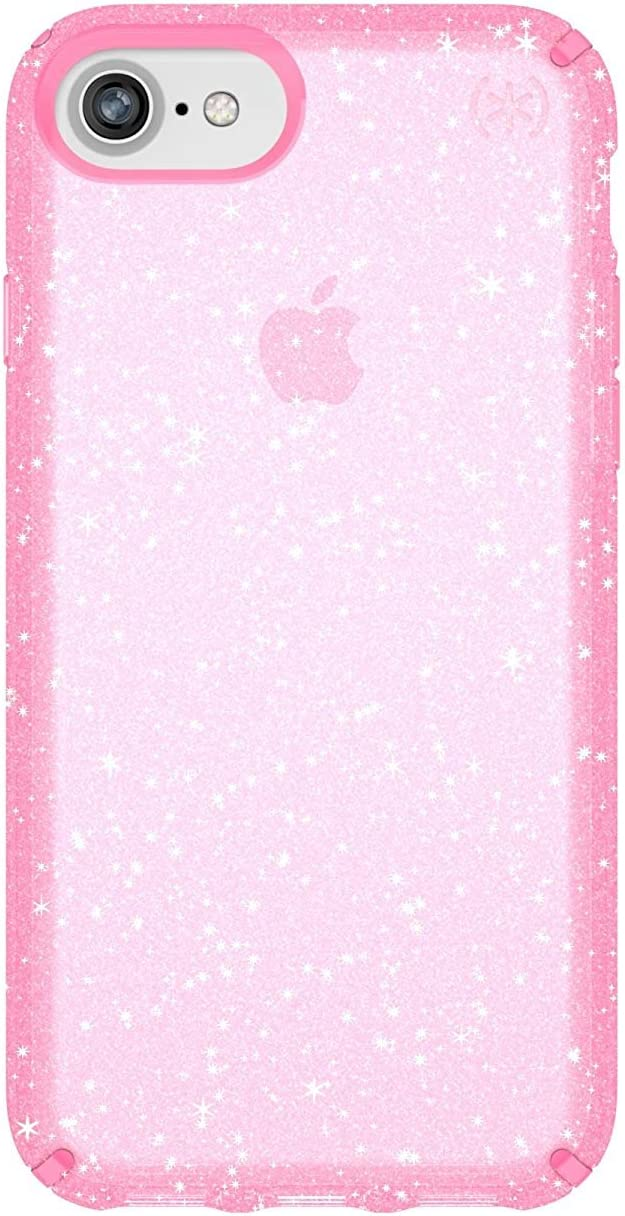 Speck iPhone SE 2020 Case/iPhone 8 Presidio Clear + Glitter Case, Scratch-Resistant IMPACTIUM 8-Foot Drop Protected iPhone Case that Resists UV Yellowing (Also Fits 7S/7/6), Gold Glitter/Bella Pink