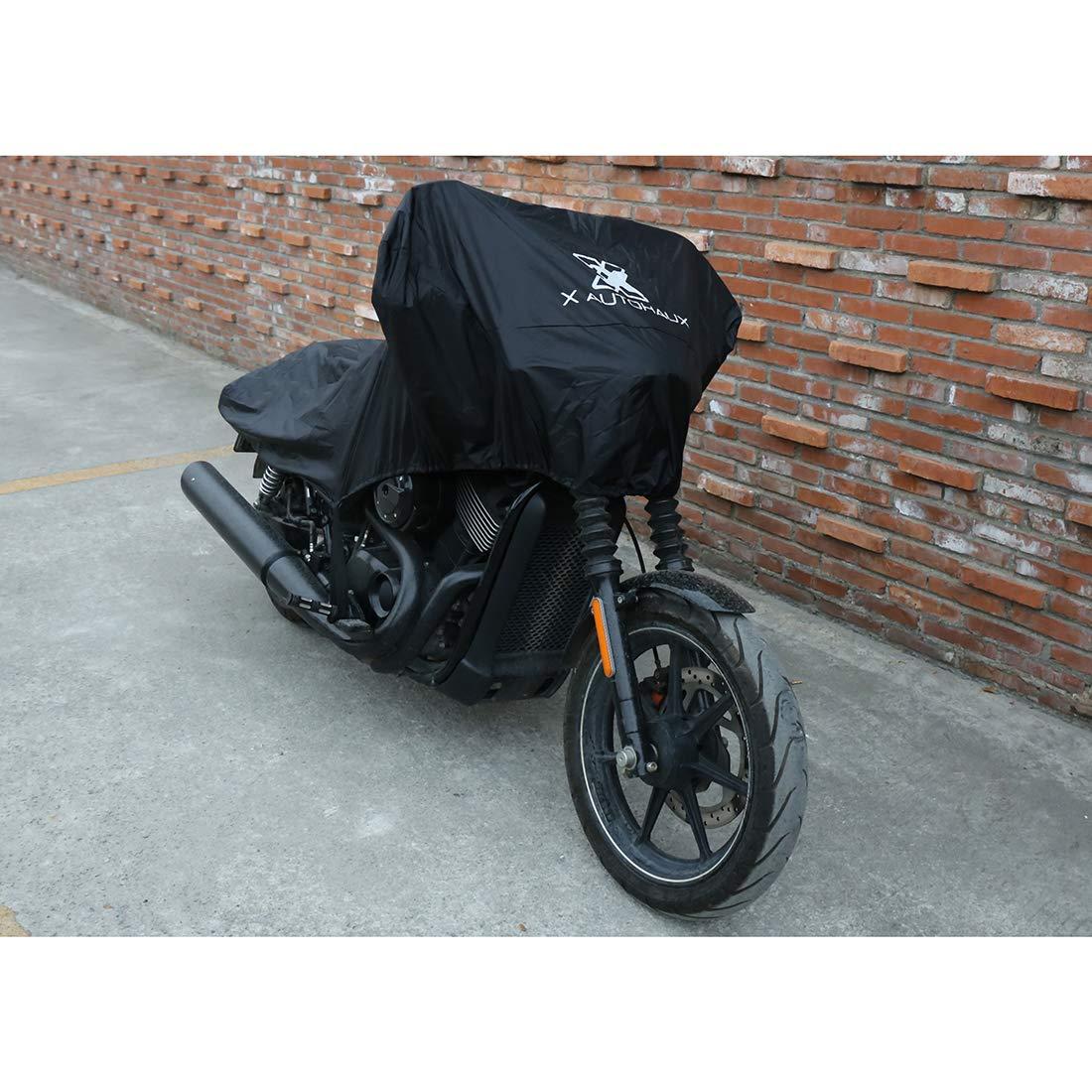 sourcing map Motorrad Abdeckplane Halb Abdeckung Outdoor Wasserdichten Regen Staub UV Schutz Motorradgarage M,schwarz Motorradabdeckungen