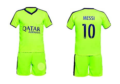 e264ac4786c Buy Sportyway Replica FC Barcelona MESSI 10 KIDS Football Jersey Set - Green Blue  Online at Low Prices in India - Amazon.in