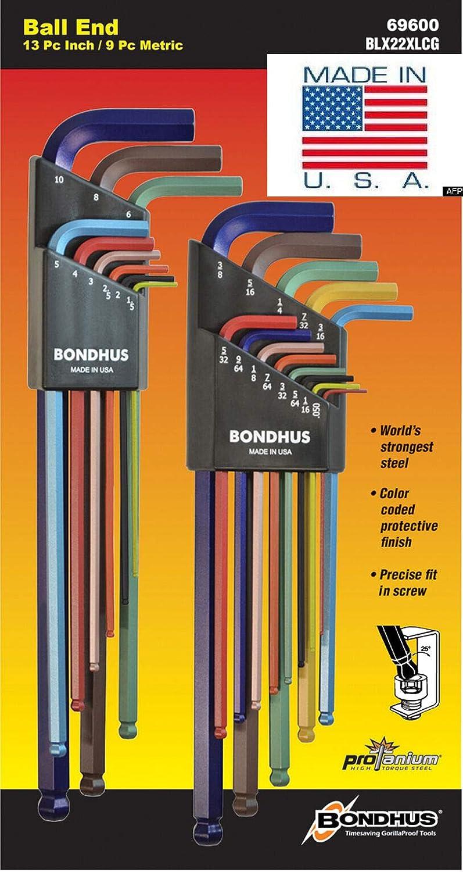 22pc ColorGuardPlated .050-3//8/& 1.5-10mm Ball Hex L-Wrenches Bondhus USA 69600