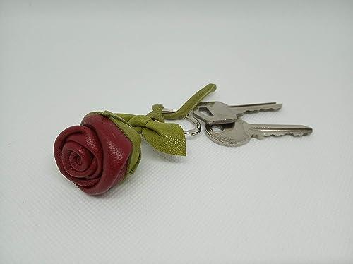 Llavero de Cuero Flor, Rosa de Cuero, Llavero, Accesorio de ...