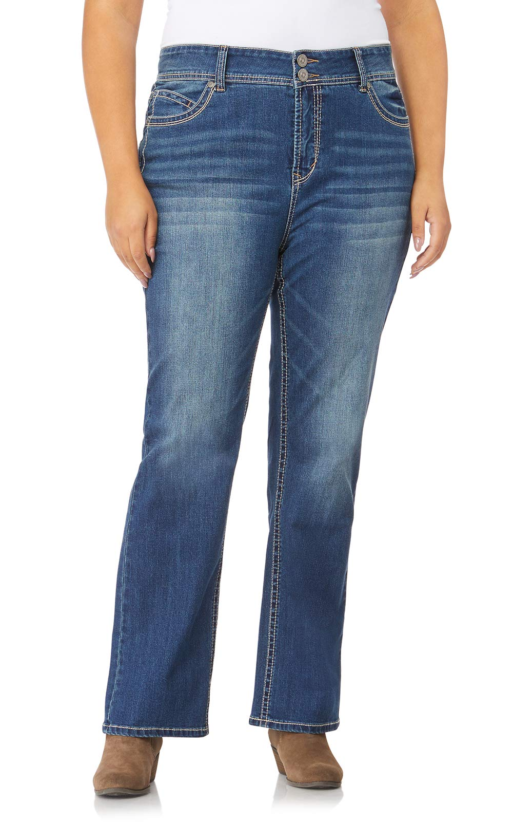 WallFlower Plus Size Luscious Curvy Basic Bootcut Jeans in Katy Size:20 Plus Short