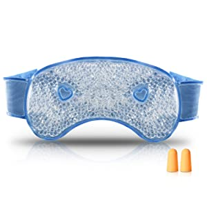 Arkmiido Gel Beads Cold Eye Mask, Cooling Eye Mask for Swollen Eyes, Dry Eyes and Headache Relief, Plush Eye Ice Pack for Hot Cold Therapy