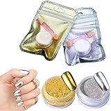 Générique 2 Pots Poudre Effet Miroir Or Argent Scintillement Nail Art Manucure