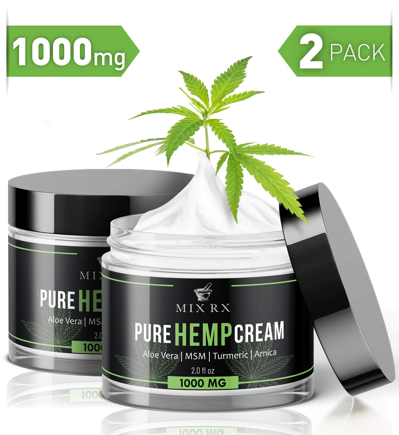 (2 Pack | 4oz) Hemp Cream for Pain Relief Helps Carpal Tunnel, Arthritis Back Knee Joint Muscle Lotion (1000mg) - Anti Inflammatory Hemp Oil Cream w Turmeric, MSM, Arnica, Vitamin A C D E - Hemp Salve by Mix Rx