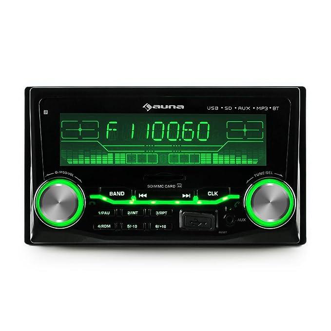 auna MD-200 2G BT Radio para coche (2 DIN, Bluetooth, radio FM, 4x75W potencia máxim, microfono integrado, ecualizados 2 bandas): Amazon.es: Electrónica