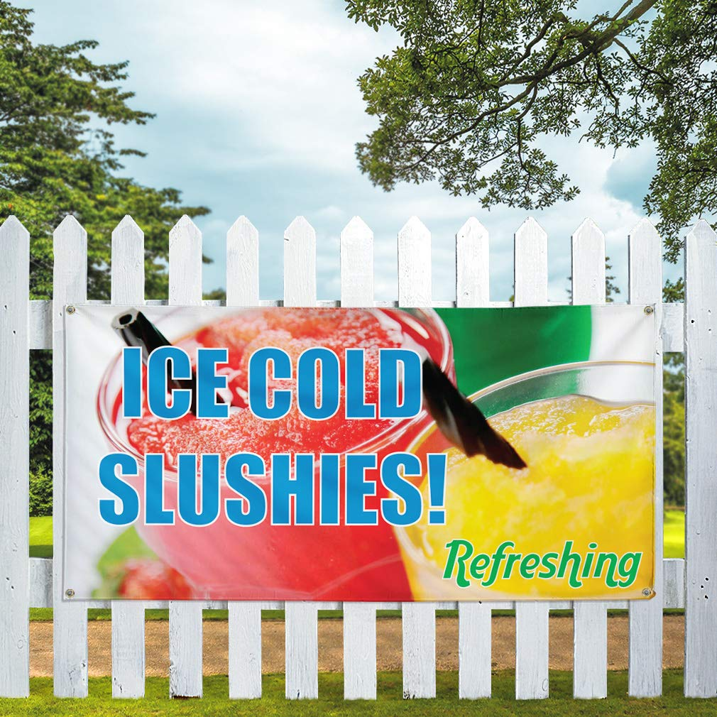 One Banner 48inx96in Multiple Sizes Available Vinyl Banner Sign Ice Cold Slushies 8 Grommets #1 Style A Marketing Advertising Aqua-Blue