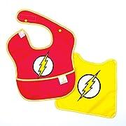 Bumkins Baby Bib, DC Comics Waterproof SuperBib with Cape, Flash (6-24 Months)