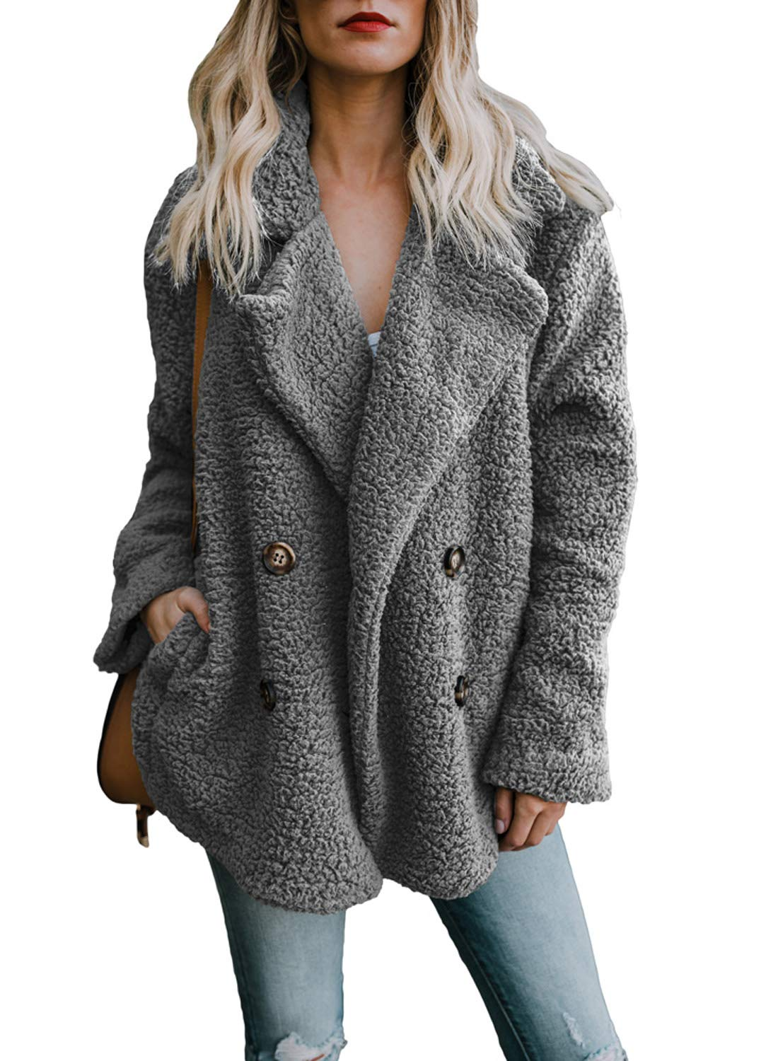 HOTAPEI Womens Jackets Cozy Warm Casual Oversized Long Sleeve Open Front Fuzzy Coat with Pockets Fluffy Cardigan Sweater Jacket Coat Outwear Grey Large