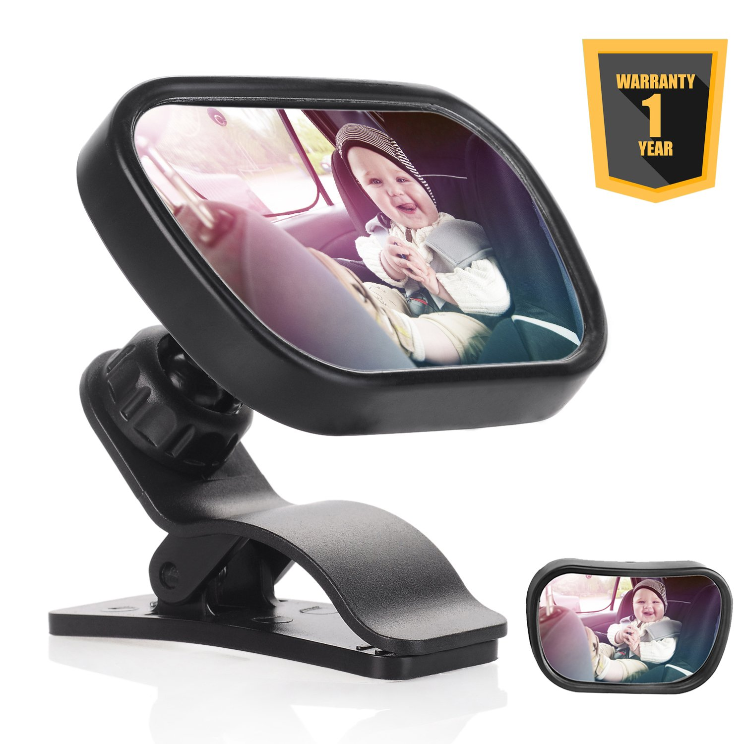 Emwel Baby Car Mirror Rear Facing, Shatterproof Safest Rear View Back Seat Mirror Convex Adjustable with Sucker and Clip for Baby Infant Toddler with Unbreakable Security Surface (88*58mm)