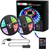 Elegant Life LED Strip Lights, Light Strip 32.8ft RGB SMD 3528 LED Rope Lights, IR Remote Control Wireless Controlled, Power Supply Led Lights for Bedroom Home Kitchen Decoration(2X16.4ft)