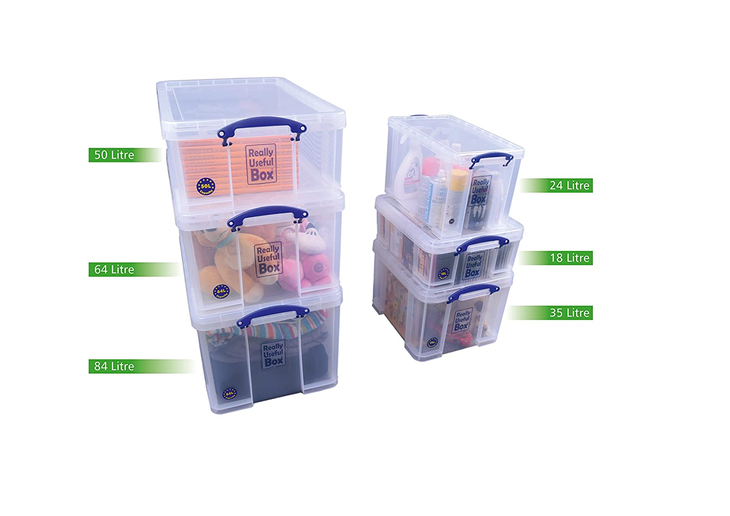 Caja pl/ástica con tapa Really Useful 24C transparente 24 litros, apilable, 260 x 465 x 270 mm