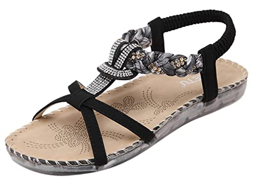 188e99e2b59 Insun Women s Bohemian Beaded Flat Sandal  Amazon.co.uk  Shoes   Bags