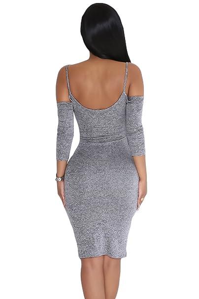 Damen Marl Grau Kalte Schulter Schlüsselloch Kleid Club Wear Party Casual  Größe L UK 12 EU 40: Amazon.de: Baumarkt