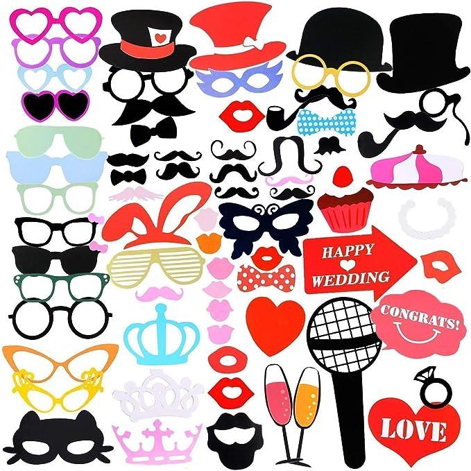 Gyvazla 75Pcs DIY Photo Booth Props Incluyendo Bigotes Gafas Pelo Arcos Sombreros labios spajaritas coronas para el partido, boda, cumpleaños, de la graduación, Accesorios para fiestas: Amazon.es: Juguetes y juegos