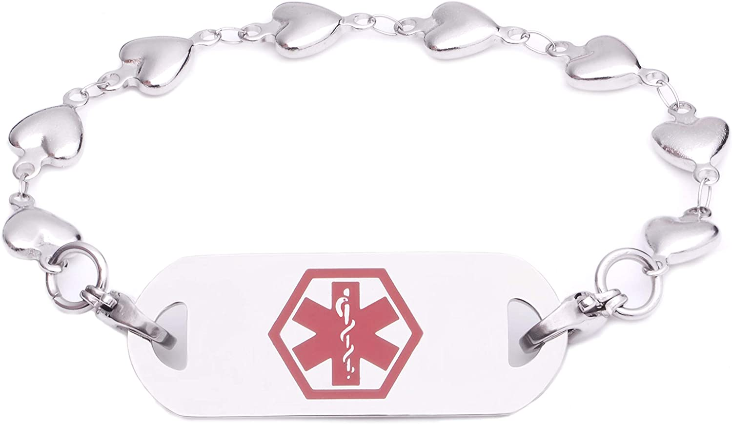 Many Pre-Engraved Conditions Medical ID Stainless Puffy Heart Link Bracelet with Tag