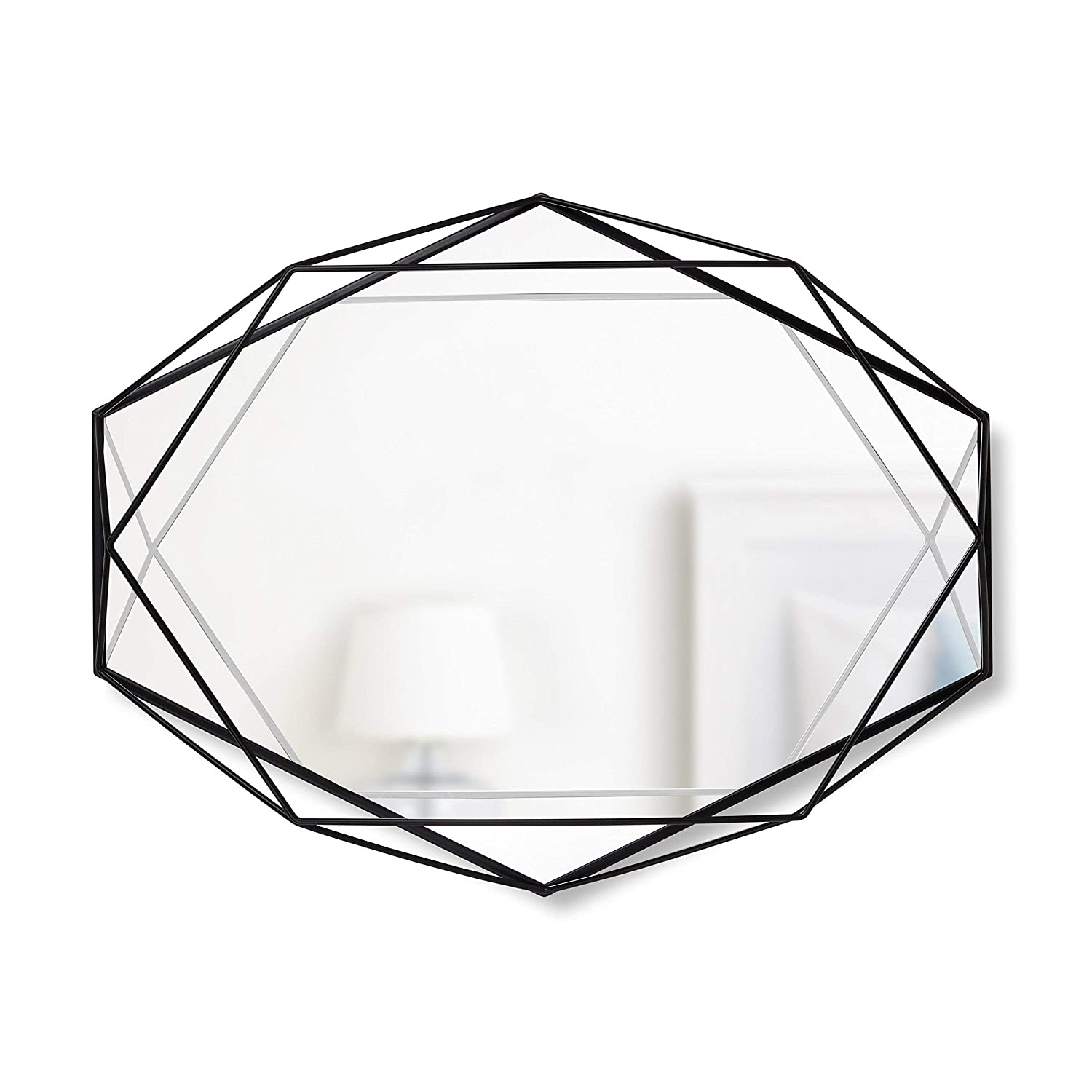 Black 358776-040 Umbra Modern Geometric Shaped Oval Prisma Wall Mirror