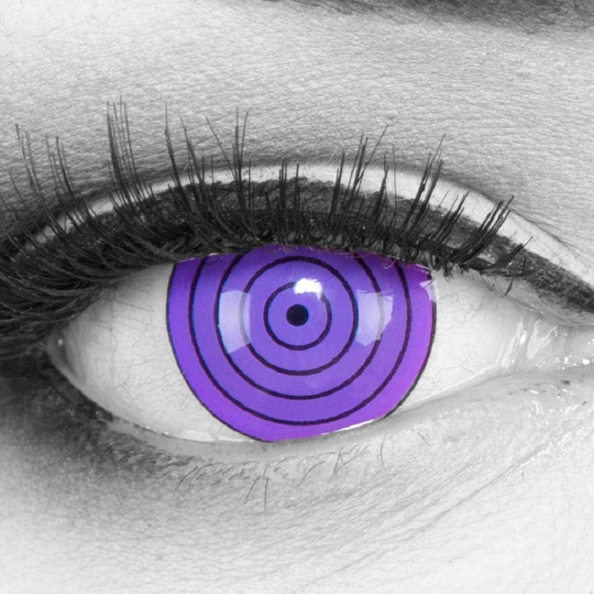 Lentillas de color violeta Violet Rinnegan 1 par. Cómodas y perfectas para carnaval de Halloween, cosplay de anime, blandas, sin dioptrías + recipiente de lentillas, sin graduación