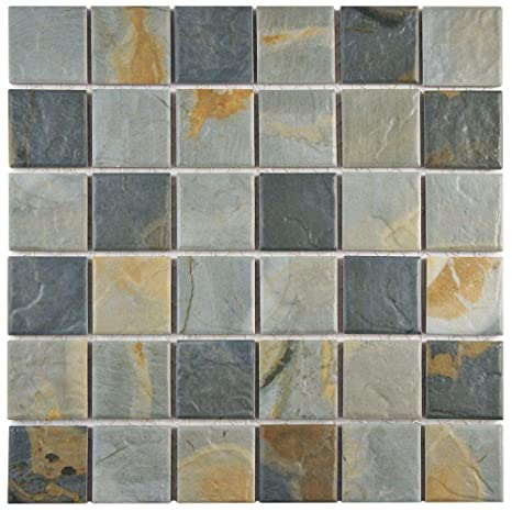 Ardesia Slate 12 In X 12 In X 6 Mm Porcelain Floor And Wall Mosaic