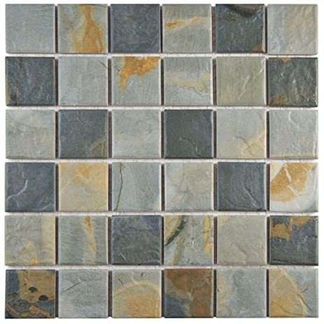 Ardesia Slate In X In X Mm Porcelain Floor And Wall Mosaic - 6 x 12 porcelain floor tile