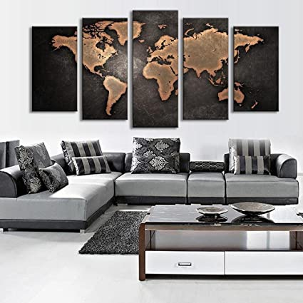 Amazon 999store framed canvas multiple frames world map 999store framed canvas multiple frames world map painting hand painted indian wall home dcor gumiabroncs Images