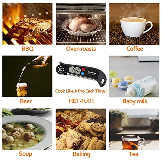 Inkbird HET-F001 Digital Termómetro de Cocina con Sonda Acero Inoxidable,Pantalla LCD ℃, Lectura Rápida para Barbacoa Parrilla,Mini Horno,Carne, Líquido, ...