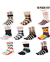 Men Formal Dress Socks Plus Size Colorful Stripe Combed Cotton Trouser Mid Calf Crew Business Socks 10-Pack