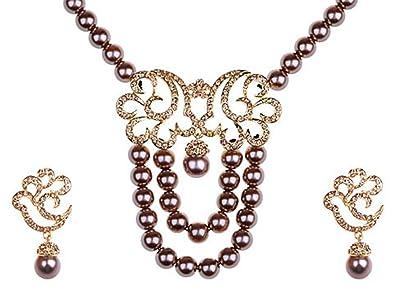 51c047b3346e45 Amazon.com: Alilang Bronze Faux Pearl Golden Tone Nimbus Cloud ...